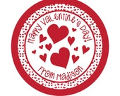 Personalized Stickers, Valentine Stickers, Cute, Hearts, Treat bag labels, Valentines Day, Hearts,Red,Children, Kids,Set of 24