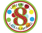 Personalized Stickers,Polka dots,Gift Sticker,  Birthday, Children, Kids, Party, Favor stickers,Personalized Stickers Set of 24