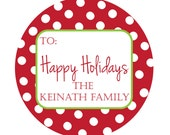 Personalized Stickers,Gift Tag,Christmas,Polka Dot,Kids,Personalized Stickers Set of 24