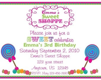 Personalized Invitations, SET OF 12, Candy Shoppe, Sweet Shop, Birthday, Sweet Treat, Boys, Girls, Candy, Lollipops, Gumballs