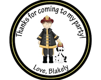 Personalized Stickers, Birthday stickers, Fireman stickers