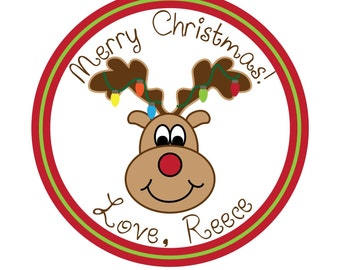 Personalized Stickers, Holiday, Gift, Gift Tag, Christmas,Reindeer,Children, Kids, Personalized Stickers set of 25