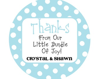 Personalized Polka Dot Stickers, Baby Shower Stickers, New Baby Stickers, Party Favor Stickers Set of 50