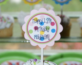 Birthday Party Cupcake Toppers Choose Your Theme