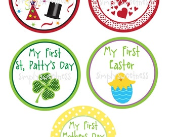 Baby Holiday Stickers, Birthday,Polka dots, Birthday, Kids, Party, Favor stickers, Personalized Stickers set of 11