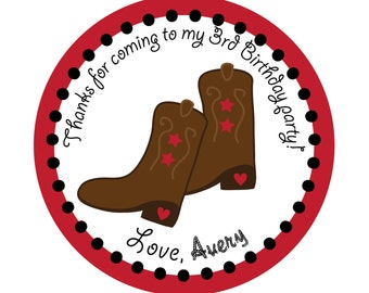 Birthday, Cowboy, Western party, Personalized Stickers,Children, Party, Favor stickers,Labels,Sticker Labels Set of 24
