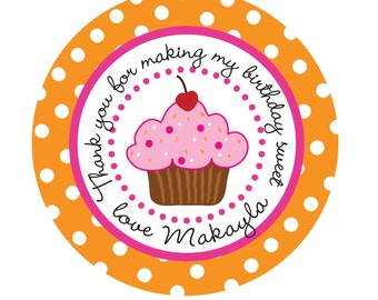 Personalized Stickers, Cupcake, Polka dots, Birthday, Address, Children,Favor stickers,Labels, Personalized Sticker Labels Set Of 25