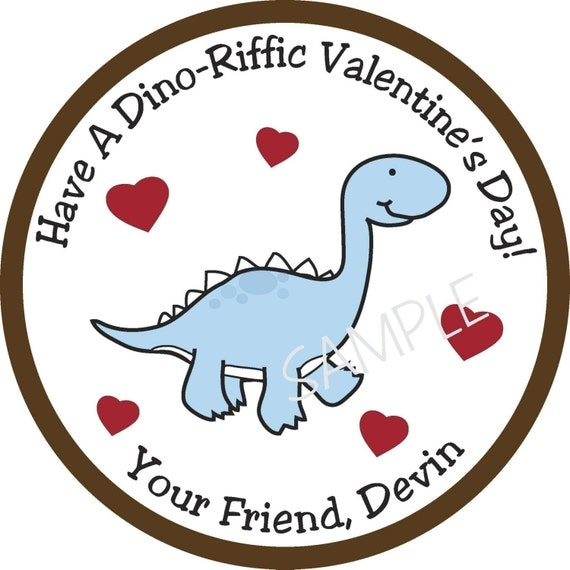 Personalized Stickers, Dinosaur, Valentine Stickers, Cute,Valentines Day,Hearts, Red, Pink, Love,Set of 24