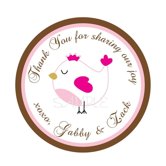Personalized Stickers, Bird, Boy, Treat bag, Girl, Children, Kids, Baby Shower, Party, Favor stickers, Seals, Labels, Tags, Set Of 24
