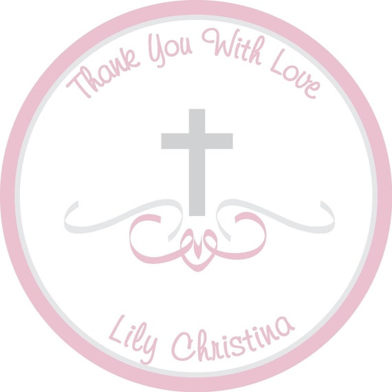 Personalized Stickers, Christening, Cross, Holiday, Birthday,Children,Kids,Baby,Favor stickers,Tags,Personalized Sticker Set of 24