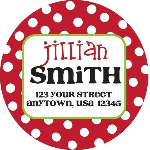Personalized Stickers, Christmas, Gift, Polka dots, Address Labels, Holiday, Address,Party,Labels, Personalized Stickers Set of 24