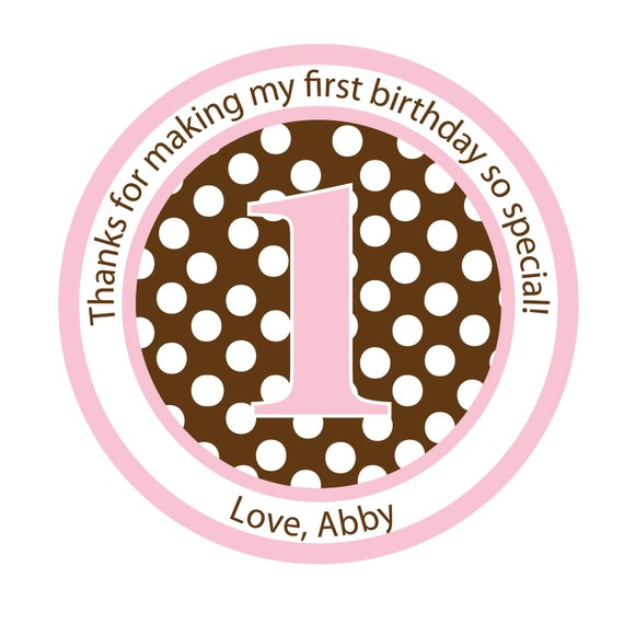 Personalized Party Stickers, Polka Dot Stickers, Birthday, Favor bag stickers