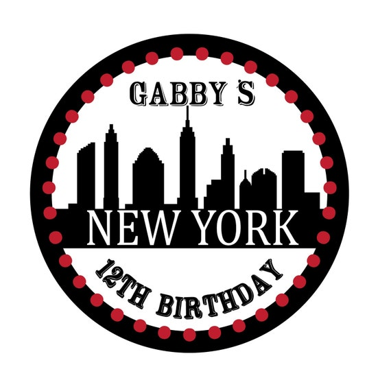 New York Theme Birthday, Personalized Stickers, Birthday, Kids, Party, Favor stickers,Personalized Sticker Labels set of 25