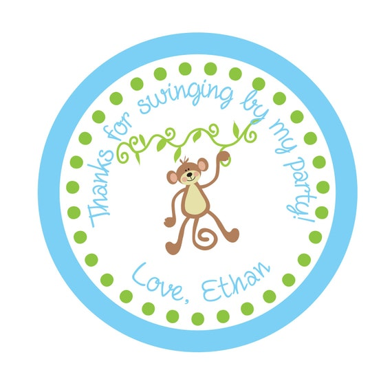 Personalized Stickers, Monkey, Boy, Girl, Birthday, Children, Kids, Party, Favor stickers,Labels,Simply Sweetness Sticker Labels Set of 24