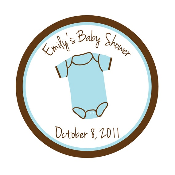 personalized stickers onsie baby shower favor treat bag thank you