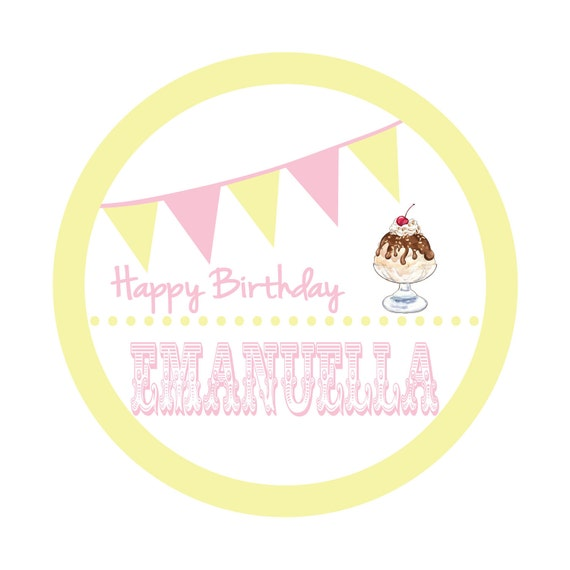 Personalized Stickers, Ice Cream Parlour, Ice cream party,Polka dots,Birthday,Kids,Party Favor stickers,Personalized Stickers Set of 24