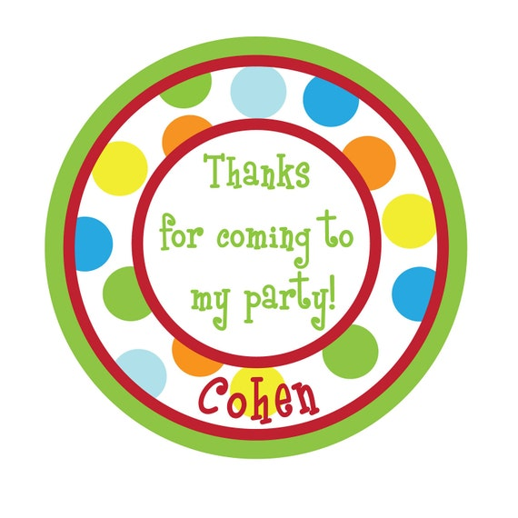 Personalized Stickers,Polka dots,Gift Sticker,  Birthday, Children, Kids, Party, Favor stickers,Personalized Stickers Set of 30