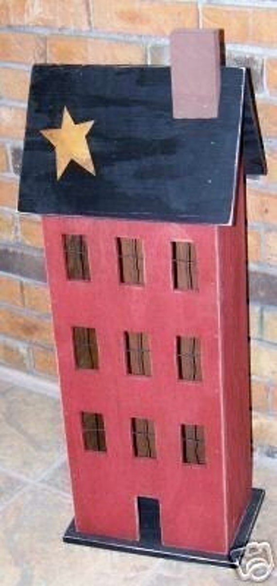 Handmade Primitive Wooden Saltbox House-PATTERN