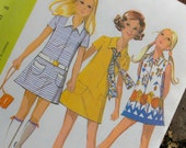 Vintage 1970 Girls'  Dress Pattern size 8  McCalls 2408 - for Knit fabric