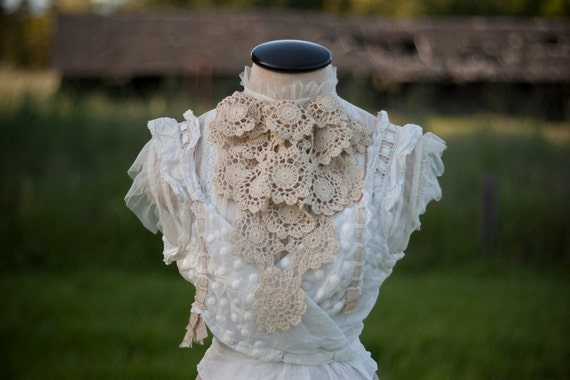 Doily Jabot - Cravat Collar Made From Layers of Vintage Doilies