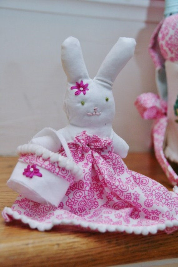 Mini Bunny with Basket Custom to Coordinate with your Easter Basket and Liner