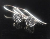 Earwires, Bali Sterling Silver Oxidized Rose Earwires, 1 PAIR,  26x5.5mm