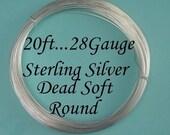 28 gauge g ga, 20 Ft (BULK) Sterling Silver Round Wire- Dead Soft