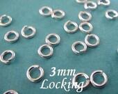 100 pcs, 22 gauge ga g, 3mm-Sterling Silver Locking Jump Ring, aka jump locks, 925 sterling silver
