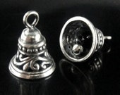 Sterling Silver Bell Charm with Real Chime- 11x14mm