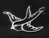 3 pcs....Sterling Silver Swallow Charm, SALE - Thai Sterling Silver Swallow Bird Charm 21.3 x 24mm