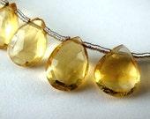 Citrine Pear Briolette, Faceted Gemstone, 3 pcs FOCAL BEADS for Pendants,  Wholesale Beads, Brides, - 10x7-11x7mm, 2 pcs