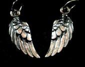 1 Pair- SALE-Thai Sterling Silver Angel Wings- 20x5x1.5mm