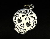Sterling Silver Mexican Sugar Skull Charm 20x12mm, 1 sided