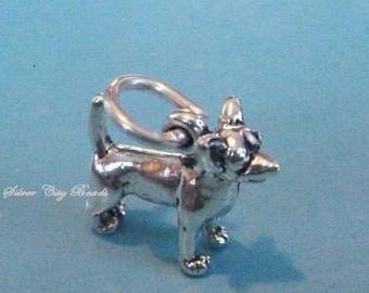 Sterling Silver Chihuahua Dog Charm -11.4mm,  Small Dog Charm, Read Listing Description
