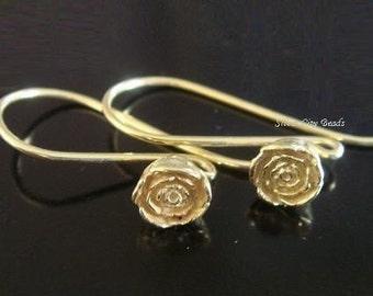 Bali Vermeil Rose Earwire-26x5.5 mm, 1 pair