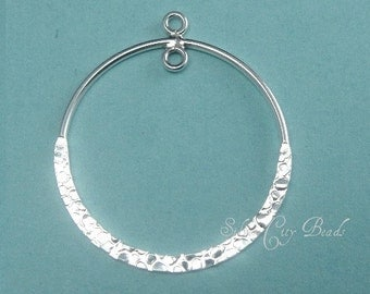 Sterling Silver Hammered Circle Chandeliers Hoops- 21mm, 1 Pr