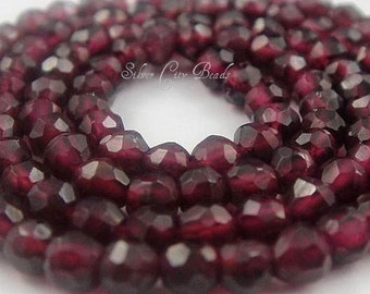 Garnet Faceted Rondelles AAA 3-4mm 14 inch strand