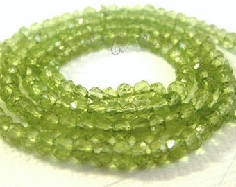 Peridot Faceted Rondelle Beads- 4 inch strand-3.5-4mm