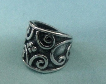 Sterling Silver Bail With Scrolling Vine, Oxidized  10.5x7.4 mm