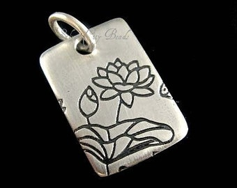 Sterling Silver Lotus Charm, SALE- Sterling Silver Lotus Print on Rectangle Charm-18 x 12mm