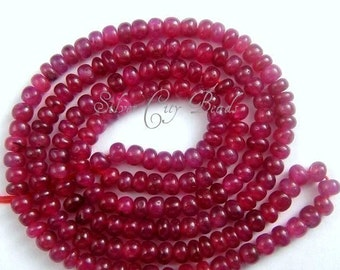 Ruby Rondelle Bead , 3 inch  3-4mm