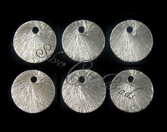 Brushed Silver Discs, Disks, Links  6 Pcs,  Sterling Silver Textured Round Disc- 8mm