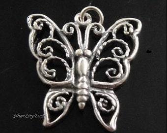 Silver Butterfly Charm, Bali Sterling Silver Filigree Butterfly Charm Pendant -19x21mm