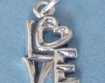 1- Sterling Silver LOVE charm- 17x9mm