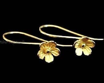 Bali 24k Vermeil Flower Earwire-- 26x7.4 mm ,1 pair