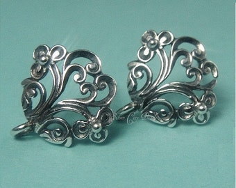Sterling Silver Oval Floral Thai Ear Post- 13 x 12 x 2mm, 1 pair