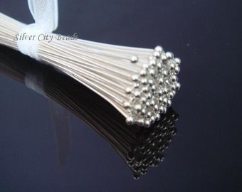 100 pcs, 28g gauge ga Sterling Silver Ball Headpins Head Pins 50mm  2 inch