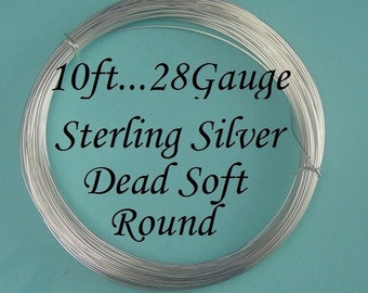 28g gauge ga, 10 Ft Sterling Silver Round Wire, Dead Soft