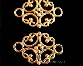 Bali 24k Gold Vermeil  Filigree Link Connectors -17.9x12.9x1.4 mm, 2pcs