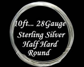 28 g gauge ga, 10 Ft, 925 Sterling Silver Round Wire, Half Hard